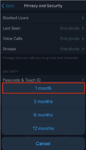 زمان لازم برای پاک شدن اکانت تلگرام در صورت استفاده نکردن از آن را انتخاب کنید