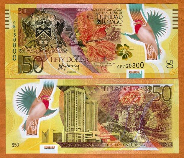 50 دلاری پلیمری ترینیداد و توباگو. منبع: Venido