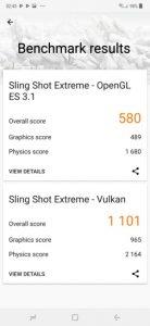نتایج بنچمارک sling shot extreme
