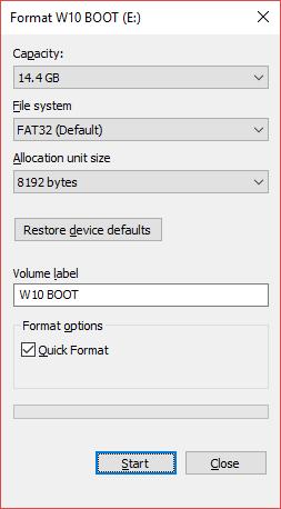 تنظیمات پنجره فرمت فلش
