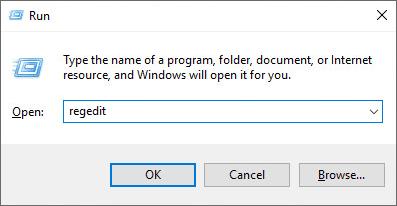 باز کردن صفحه ریجستری ویندوز از طریق پنجره Run