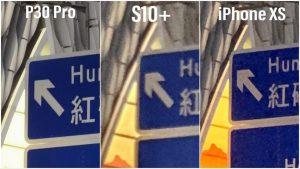 با زوم کردن بر روی نوشتههای تصویر بالا میبینید که عملکرد P30 PRO در زوم 10X بهتر از رقبا میباشد