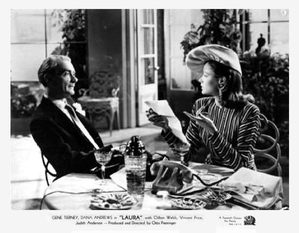 هنرنمایی Gene Tierney و Clifton Webb در فیلم Laura