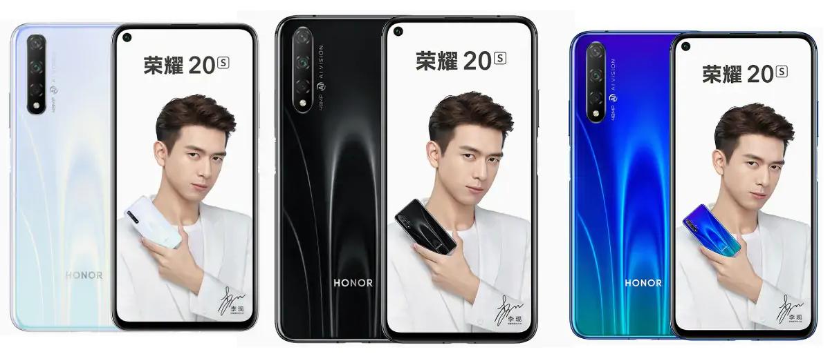 با ابعاد ۱۵۴٫۳*۷۴*۷٫۹ میلی متر، آنر ۲۰S فقط ۱۷۲ گرم وزن دارد، یعنی سبک تر از آنر پلی ۳٫ این گوشی ضدآب نیست و از کارت حافظه جانبی microSD پشتیبانی نمیکند. مهم ترین مشخصهی ظاهری Honor 20S دوربین حفرهای آن میباشد که در سمت چپ نمایشگر جای گرفته است. Honor 20S تماما از جنس شیشه و آلومینیوم ساخته شده است.