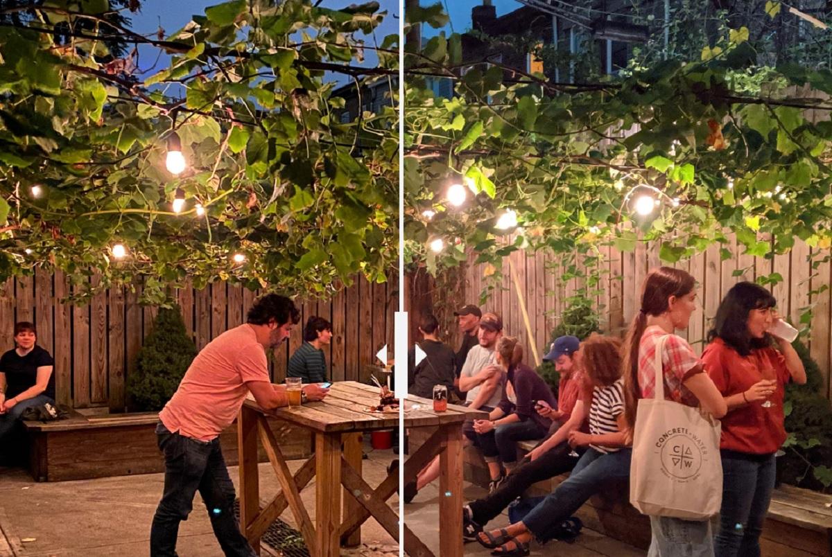 به درخشش بیش از حد لامپها در تصویر ثبت شده با گوگل پیکسل 3 (سمت راست) در مقایسه با آیفون 11 پرو مکس دقت کنید. هر دو تصویر با فعال بودن Night Mode ثبت شده اند