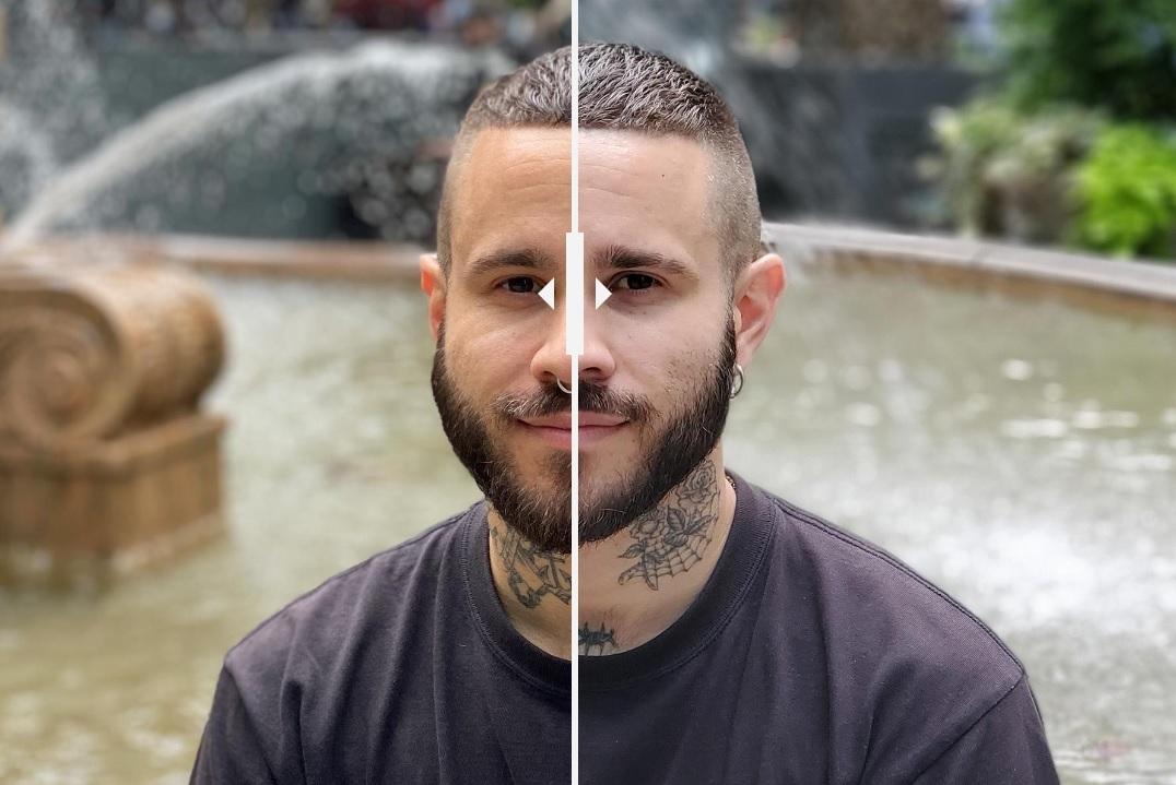 تصویر پرتره، نوت 10 پلاس در سمت راست و آیفون 11 پرو در سمت چپ. آیفون در نمایش رنگ واقعی چهرهی فرد کاملا بهتر عمل میکند