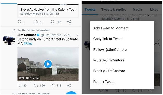 پس از یافتن ویدئو مورد نظر بر روی فلش کشویی کلیک کنید تا گزینههای مختلف برای دانلود را مشاهده کنید. سپس گزینه کپی لینک توییت (Copy link to Tweet) را انتخاب نماید.