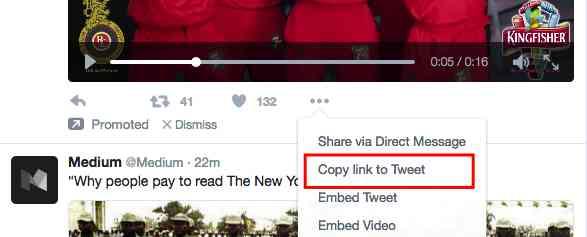 بر روی سه نقطه ... که در پایین ویدئو قرار دارد، کلیک کنید و سپس بر روی کپی لینک توییتر (Copy link to Tweet) را انتخاب کنید.