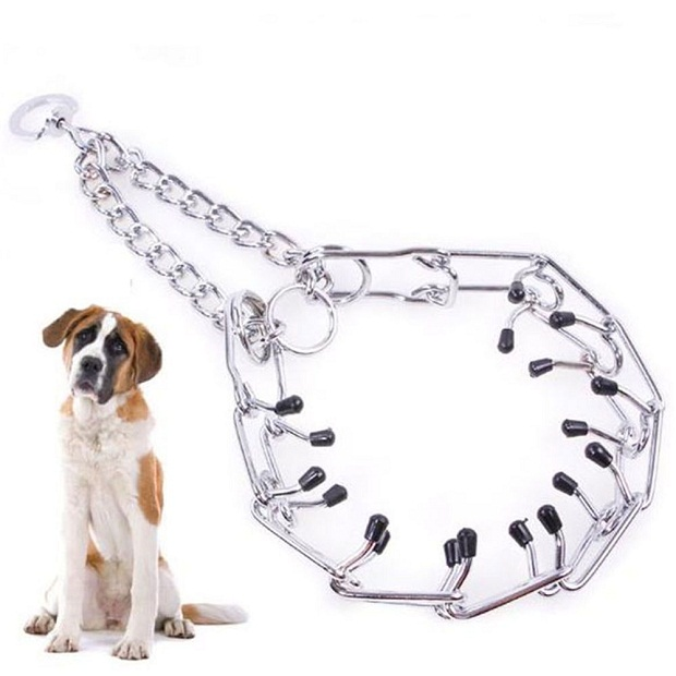در این مدل از قلاده سوزنها یا پیمهای ریزی وجود دارد که هنگام حمله و یا تهاجم سگ به گردن حیوان فشاری وارد میکند.