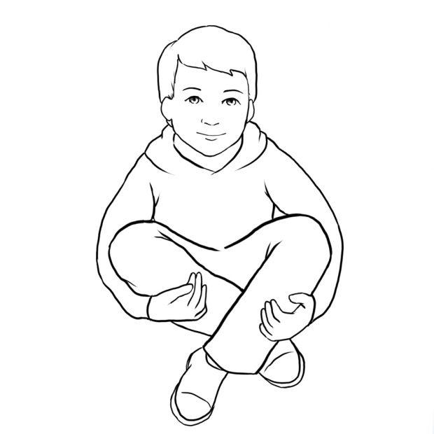 از دیگر ژستهای عکاسی کودک، بغل کردن پاها است.