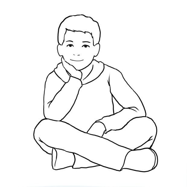 در عکاسی کودک یکی از ژستهای رسمی نشستن کودک به صورت چهار زانو و گذاشتن یک دست در زیر گونه است.