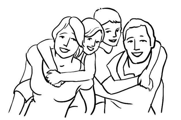 در این ژست عکاسی بچهها از شانههای پدر و مادر خود را آویزان میکنند. در این حالت صمیمت و شادابی خانواده به خوبی به نمایش گذاشته میشود.